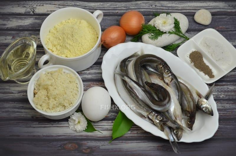 Ингредиенты для приготовления котлет из мойвы