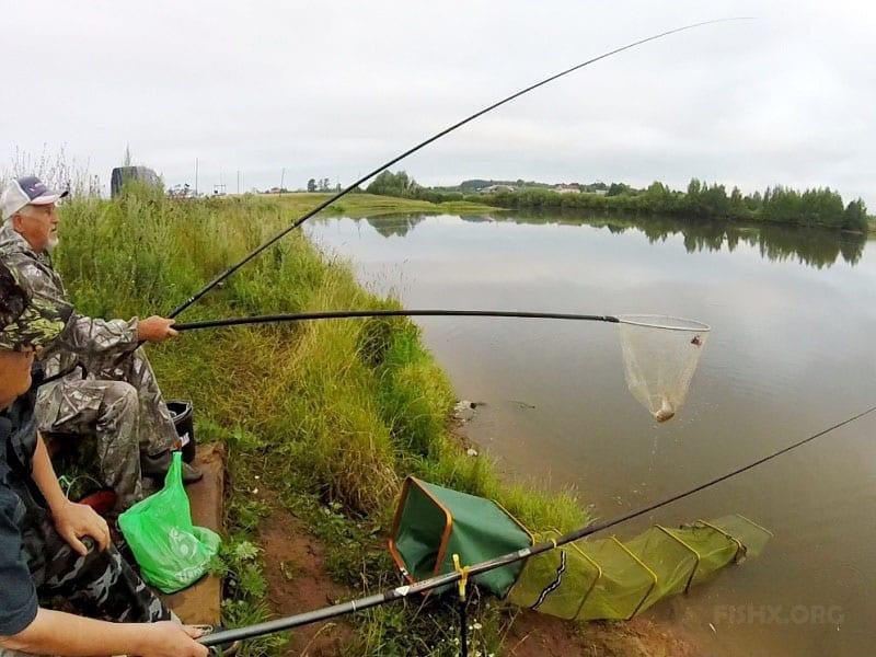 Рыбаки на пруду летом